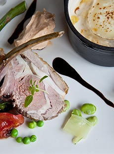 Duo (French Shepard pie and rack) of Mailes Butcher's Lamb, Spring vegetables and jus