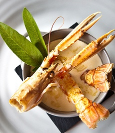 Baked Perch quenelles with pan fried Langoustines