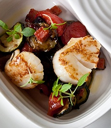 Scallops and Chorizzo on Char Grilled vegetables
