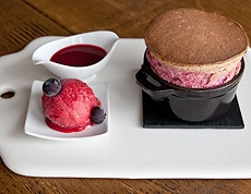 Raspberry soufflé with home made Raspberry Sorbet and Coulis